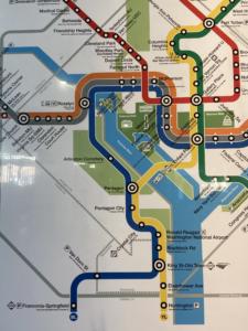 Close up shot of DC Metro map on January 28, 2021 in Washington, DC (Photo elements: close-up)