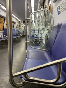 Empty seats on DC Metro rail on January 28, 2021 in Washington, DC (Photo elements: Medium-shot, repetition, light)